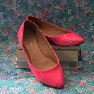 2/$20 Hot Pink Patent Aldo Pointed Toe Flats